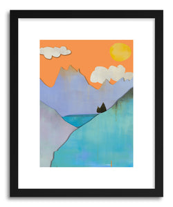 hide - Art print Mountain Lake by artist Jacquie Gouveia in natural wood frame