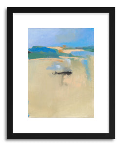 hide - Art print Fun Beach Landscape No.2 by artist Jacquie Gouveia in natural wood frame