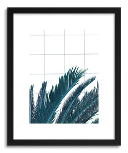 hide - Art print Blue Palms by artist Emanuela Carratoni in natural wood frame