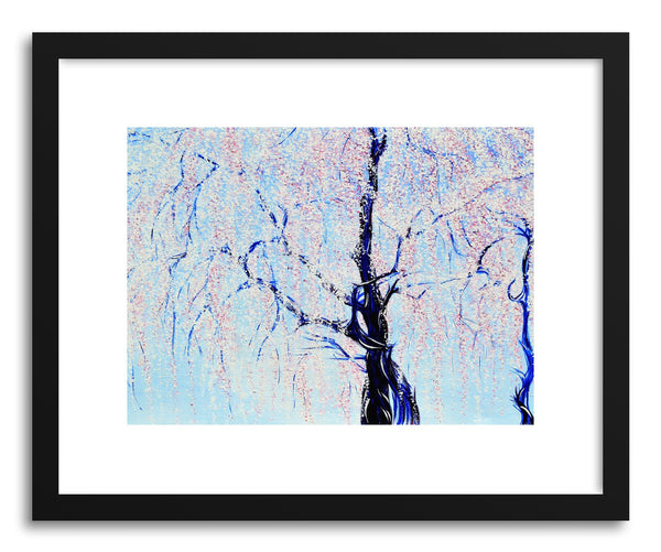 Art print Weeping Cherry Tree by artist Joanne Kim in black frame