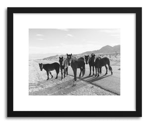 hide - Art print Desert Horse Group by artist Kevin Russ in natural wood frame