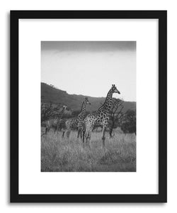 hide - Art print Giraffe Tower by artist Kevin Russ in natural wood frame