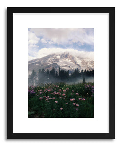hide - Art print Mt Rainier by artist Kevin Russ in natural wood frame