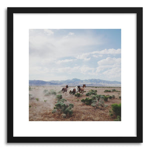 hide - Art print Running Horses by artist Kevin Russ in natural wood frame