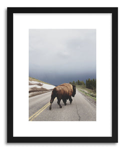 hide - Art print Street Walker by artist Kevin Russ in natural wood frame