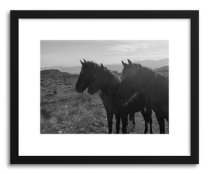 hide - Art print Wild Desert Horses by artist Kevin Russ in natural wood frame