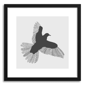 hide - Art print Bird Grey Poster Grey by artist Florent Bodart in white frame
