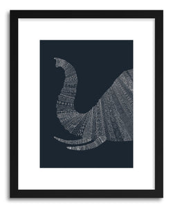 hide - Art print Elephant Blue by artist Florent Bodart in natural wood frame