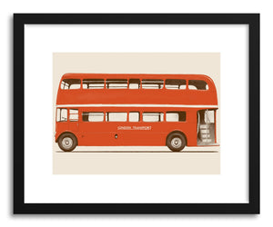 hide - Art print English Bus by artist Florent Bodart in natural wood frame