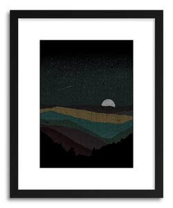 hide - Art print Moonrise by artist Florent Bodart in white frame