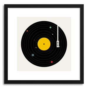 hide - Art print Music Everywhere by artist Florent Bodart in natural wood frame