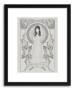 hide - Art print Reine Des Cygnes Grey by artist Florent Bodart in white frame