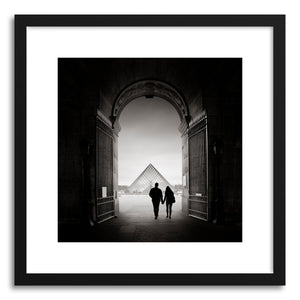 hide - Art print La Pyramide Du Louvre by artist Ronny Behnert in natural wood frame