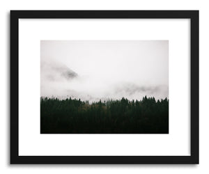 hide - Art print Foggy Forest No.1 by artist Kristine Weilert in natural wood frame