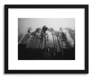 hide - Art print Foggy Forest No.3 by artist Kristine Weilert in natural wood frame