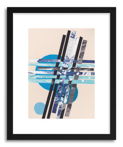 hide - Art print Blue Moons No.7 by artist Jane Philipps in white frame