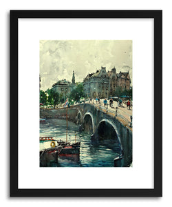 hide - Art Print Amsterdam Canal II by artist Maximilian Damico in natural wood frame