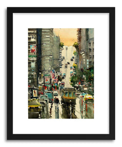 hide - Art Print San Francisco Cross Street by artist Maximilian Damico in white frame