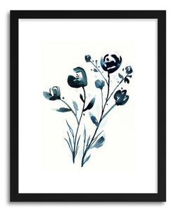 Art print Winter Flowers by artist Lindsay Megahed in black wood frame