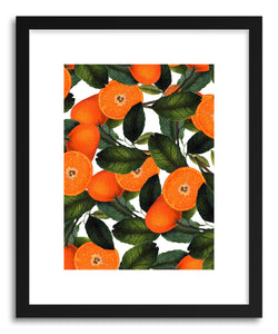 hide - Art print Orange Pattern by artist Uma Gokhale in natural wood frame