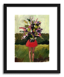 hide - Art print Flower Girl by artist Pamela Munger in natural wood frame