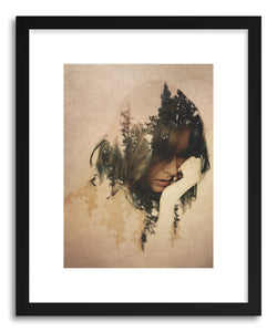 hide - Art print Lost In Thought by artist David Iwane in natural wood frame