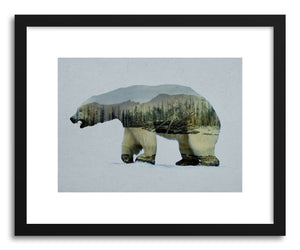 hide - Art print The Arctic Polar Bear by artist David Iwane in natural wood frame