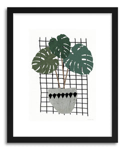 hide - Art print Monstera by artist Kerry Layton in white frame