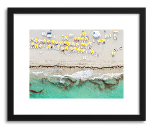 hide - Art print Yellow Umbrellas I by artist Claudia Masco in white frame