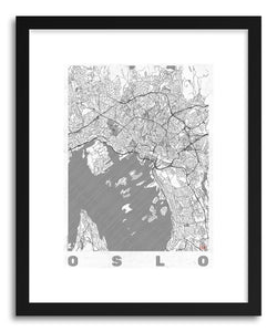 hide - Art print LINO Oslo by artist Hubert Roguski in natural wood frame