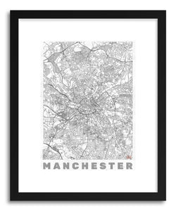hide - Art print UK Manchester by artist Hubert Roguski in natural wood frame