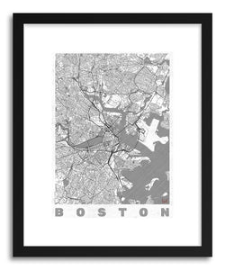 hide - Art print US Boston by artist Hubert Roguski in natural wood frame
