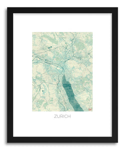 hide - Art print Zurich by artist Hubert Roguski in white frame