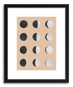 hide - Art print Moon Phases by artist Vitor Costa in natural wood frame
