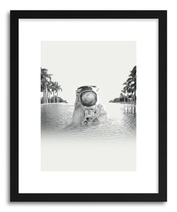 hide - Art print Astronaunt by artist Fran Rodriguez in white frame
