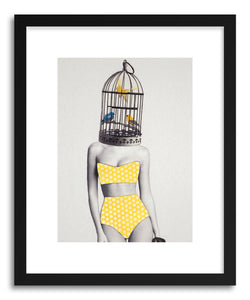 hide - Art Print Bird BraIned Babe by artist Jenny Liz Rome in natural wood frame