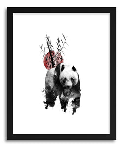 hide - Art Print Panda by artist Rui Faria in natural wood frame