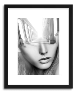hide - Art Print Antic Lady by artist Tania Amrein in natural wood frame