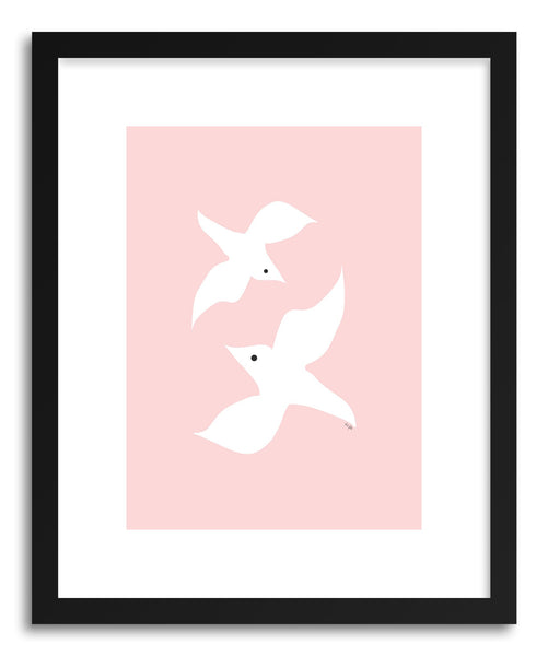 Fine art print Love Birds PInk by artist Linda Gobeta