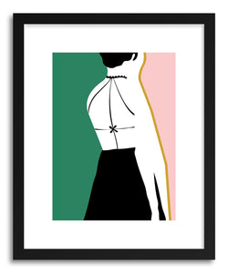 hide - Art Print Black Dress by artist Linda Gobeta in natural wood frame