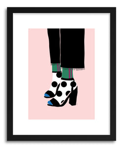 hide - Art Print Heels and Socks by artist Linda Gobeta in natural wood frame