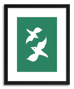 Fine art print Love Birds Green by artist Linda Gobeta