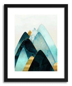 Art print Gold and Blue Hills by artist Spacefrog Designs