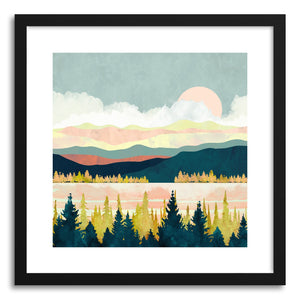 hide - Art print Lake Forest by artist Spacefrog Designs in natural wood frame