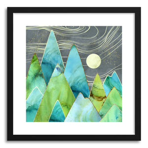 hide - Art print Moonlit Mountains by artist Spacefrog Designs in natural wood frame