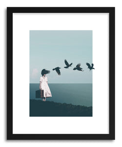 hide - Art print I Am Starting To Forget Your Face by artist Maarten Leon in natural wood frame