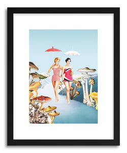 hide - Art print Let's Pretend We're Mushrooms by artist Maarten Leon in white frame