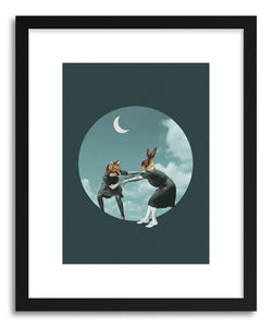 hide - Art print Chase The Night by artist Maarten Leon in white frame