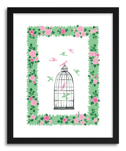hide - Art print Bird Cage by artist Skylar Kim in natural wood frame