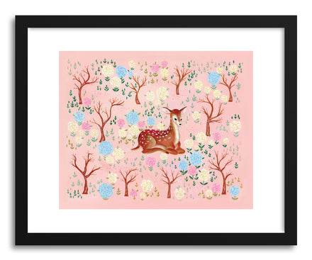 Fine art print Deer In The Flower Garden by artist Skylar Kim